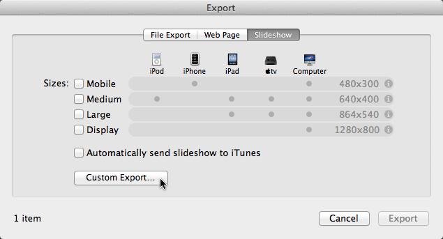 Custome Export menu