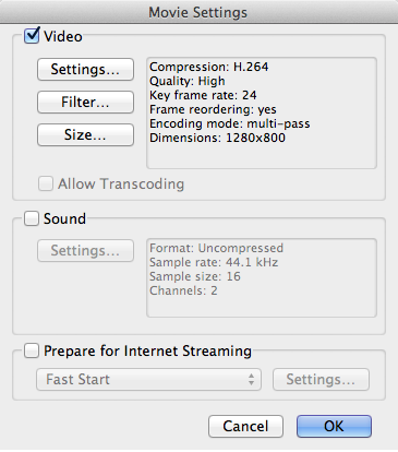 QuickTime Movie settings