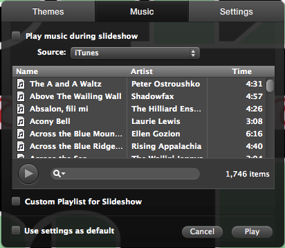 iPhoto slide show music pane
