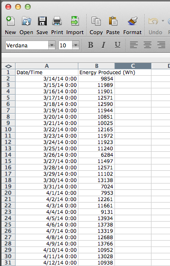 Microsoft Excel Screen Shot 2