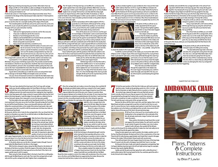 Adirondack Plans pg. 1