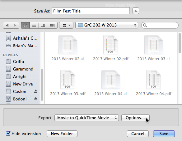 iPhoto QuickTime Options