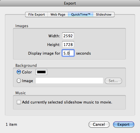 iPhoto export to QuickTime