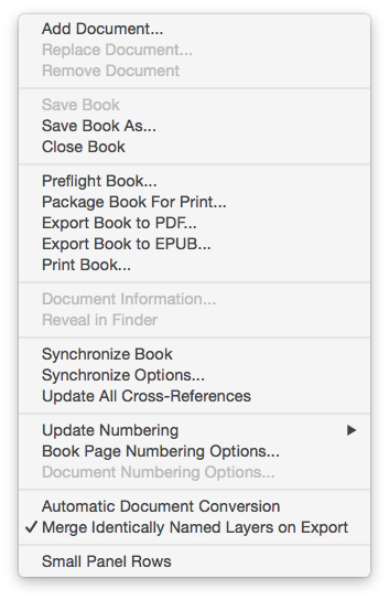 InDesign Book fly-out options